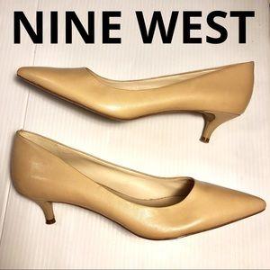 Nine West Illumie kitten heel leather pumps tan 11